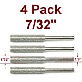 Anytime Tools 7/32' Diamond Chainsaw Sharpener Burr 1/8' Shank, 4 Pack