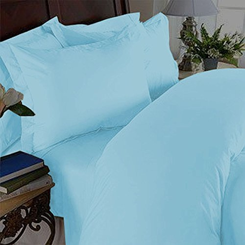 Elegance Linen 1500 Thread Count Wrinkle Resistant Ultra Soft Luxurious Egyptian Quality 3-Piece Duvet Cover Set, King/California King, Light Blue