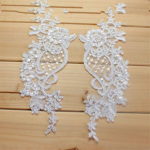 (Sewing on Lace Applique-2 Piece Sequin Lace Applique Beaded Lace Patches Trim for DIY Bridal Wedding Dress Bridal Headdress )