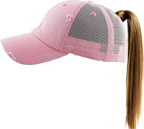 KBETHOS New Glitter Designed Leopard Ponytail Hat Baseball Caps for Women Cotton and Mesh Trucker Better Made Original Tags (Adjustable, (002) Pink) by KBETHOS