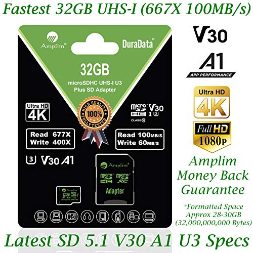 32GB Micro SD SDHC Memory Card Plus Adapter (Class 10 U1 UHS-I V30 A1 MicroSD HC Extreme Pro) Amplim 32 GB Ultra High Speed 667X 100MB/s UHS-1. Cell Phone, Tablet, Camera TF MicroSDHC Flash