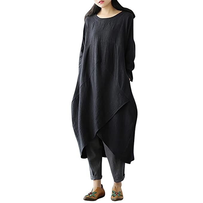 b1cd35ad7b1c Longra Women Vintage Long Sleeve Tunic Baggy Maxi Dress Plus Size Dresses  Online Shop Where to