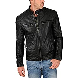 HugMe.fashion Leather Motorcycle Jacket for Men JK55