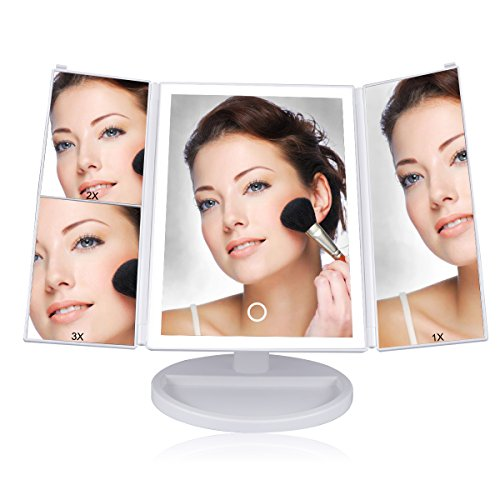 LASUAVY Makeup Vanity Mirror with 36 LED Lights, Touch-Screen Light Control, 1x/2x/3x Magnification, Portable High Definition Clarity Cosmetic Light Up Magnifying Mirror - White