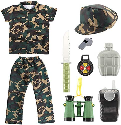 HITTEN Boys Child`s Short Sleeve Army Military Camouflage Soldier Uniform Fancy Dress Costume Outfit
