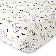 Levtex Baby Bailey Charcoal and White Collection Print Fitted Crib Sheet