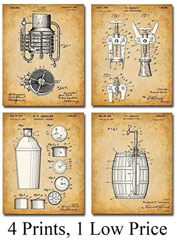 Original Bar Patent Prints – Set of Four Photos (8×10) Unframed – Makes a Great Gift Under $20 for Bartenders or Alcohol Lovers