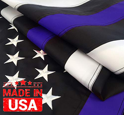 Winbee Thin Blue Line Flag 3x5 Ft - Embroidered Stars, Sewn Stripes and Long Lasting Nylon, American Police 3x5 Flags Blue line with Black and White, Honoring Law Enforcement Officers