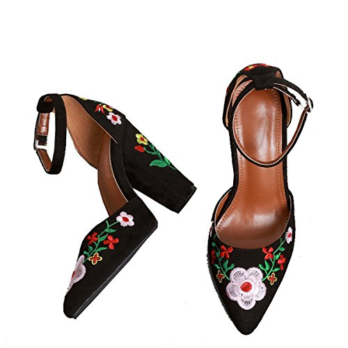 Ankle Canvas Time Embroidery Sandals Women Strap Chunky Heels High Denim Black Dear tg8qBwB