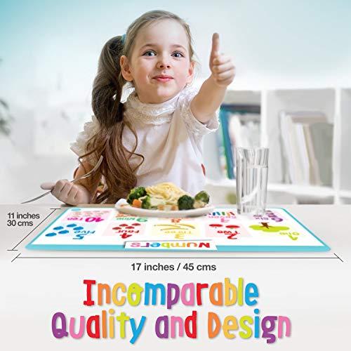 merka Educational Kids Placemats - Set of 4: Alphabet, Numbers, Shapes, Colors - Bundle - Non Slip & Washable by merka (Image #3)