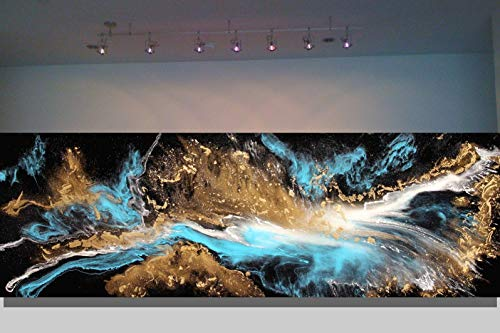 20x60 Large Original Signed Resin Abstract Canvas Fine Art Painting by Tara Baden. This painting comes ready to hang vertically or horizontally.