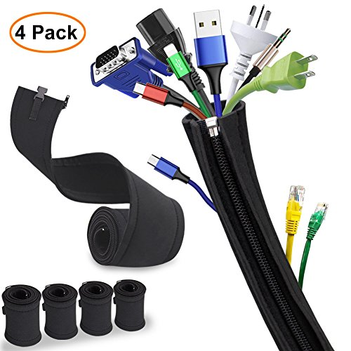 Cable Sleeve, Sungwoo Expandable Cable Management System Cable Organizer with Zipper and Buckle - 19.5'' Flexible Cord Sleeve for TV, Computer, Home Entertainment, Office - 4 Pack (Black) Entertainment Center Bundle