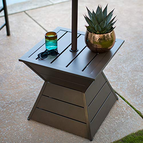 Modern Bronze Brown Steel Umbrella Table Side Table Stand with Umbrella Hole Outdoor Deck Garden Pool Patio Furniture