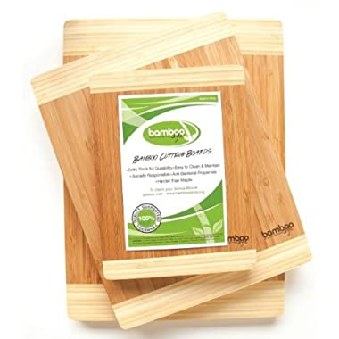 Huge Stock Clearance Sale - Premium 3 Piece Bamboo Cutting Boards by Bamboo Style. Eco-friendly Kitchen Chopping Boards Made to Last!