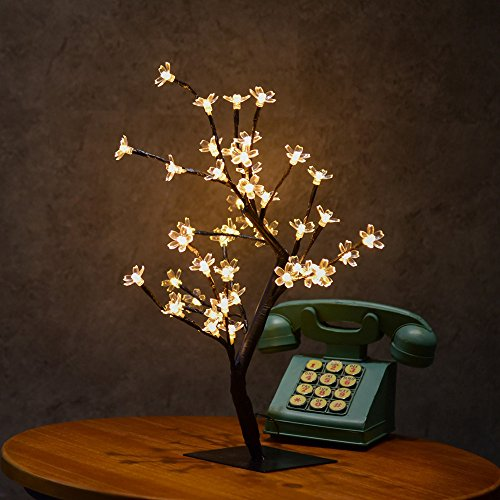 Gotian 48LED Cherry Blossom Table Desk Lamp, Desk Top Bonsai Tree Light for Party Bedroom Living Room Wedding Holiday Home Indoor Decor (B)