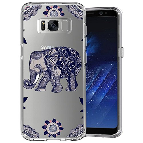 Mandala Elephant Clear Phone Case for Samsung Galaxy S8 Customized Design by MERVELLE TPU Clear Shock-Proof Protective Case [Ultra Slim, Anti-Slippery]