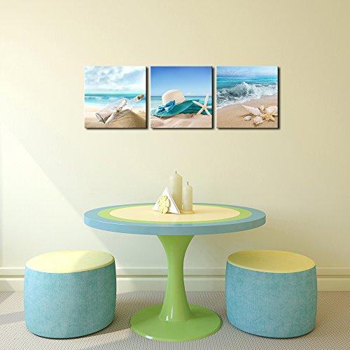 3 Panels Starfish SEASHELL Bottle Beach Pictures On Canvas Wall Art Modern Seasc