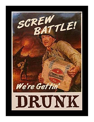 Iron Ons 8 x 10 Photo Screw Battel We're Getting Drunk Heineken_Beer_Poster_World_War_Ii Vintage Old Advertising Campaign Ads