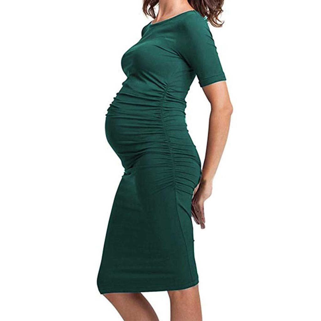 Vicbovo Clearance Women Pregnancy Dress, Maternity Casual Solid Color Ruched Short Sleeve Bodycon Knee Length Dresses for Work (Green, M) at Amazon Womens ...