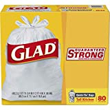 Glad Tall Kitchen Quick-Tie Trash Bags - 13 Gallon White Trash Bag - 80 Count