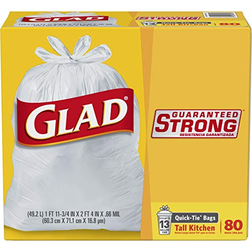 Glad Tall Kitchen Quick-Tie Trash Bags - 13 Gallon White Trash Bag - 80 Count