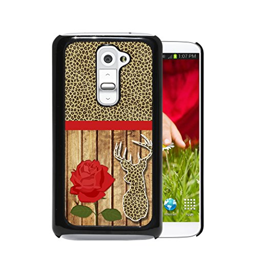 Cheetah Leopard Animal Print Red Rose Wood Pattern Cheetah Print Deer Head (1st Generation) LG G2 Hard Plastic Phone Case - NOT COMPATIBLE WITH VERIZON CARRIER