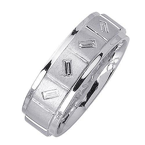 14k Gold Baguette Bezel Set 7mm Comfort Fit Diamond Band 0.36ctw 1201 - Size 15.5