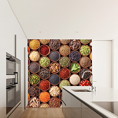 colorful Spices Wall Mural Food Photo Wallpaper Kitchen R...