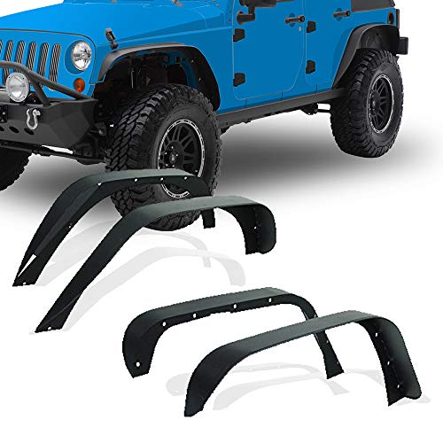 - YITAMOTOR Steel Fender Flares Kit for 2007-2018 Jeep Wrangler JK (2/4 Doors), Heavy-duty Solid Steel Off-Road Fenders for Jeep Unlimited JK Front Rear Flat (4pcs)