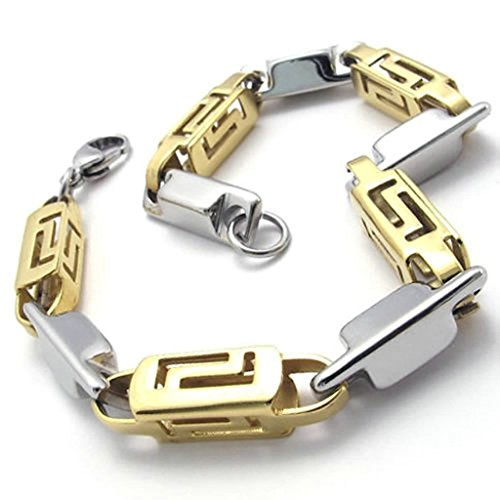 Gnzoe Jewelry, Stainless Steel Bracelets Mens Link Bracelets Silver Gold Length 9IN