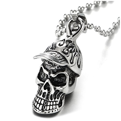 (iMECTALII Stainless Steel Cap Skull Pendant Necklace for Men Boys, Gothic Punk Rock Vintage, 24 inches Chain)