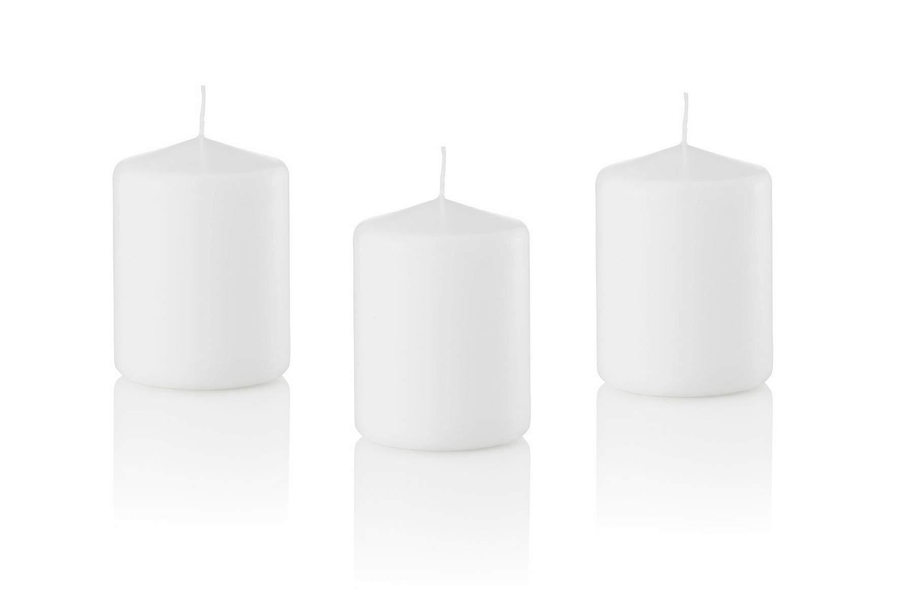 D'light Online 3 X 4 Pillar Candles Bulk Event Pack Round Unscented White Pillar Candles Qty 12 - (White)