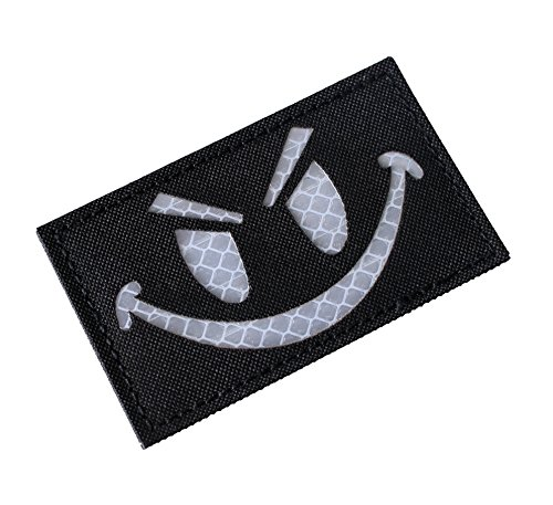 (Hannah fit High Reflective Nylon Fabric Black Evil Smiley Face Tactical Morale Patches(2x3.5 inch) (Black))