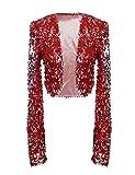 kayamiya Womens Shiny Sequin Long Sleeve Cropped Blazer Bolero Shrug S/US 0-4 Red