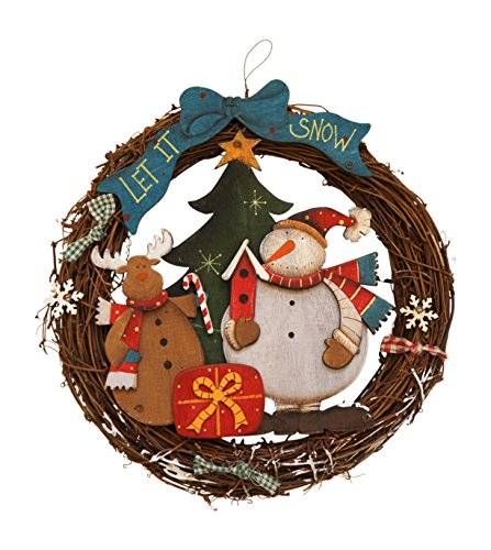 (Charming Santa and Snowman Wooden Wreaths Holiday Decoration)