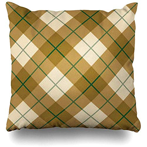 Throw Pillow Covers 12 Checkerboard Plaid Pattern Quot in Golden Wool Browns Green Stripe Gold Tartan Checkered Checks Pillowcase Square Cute 18 x 18 Inches Home Decor Cushion Cases ()