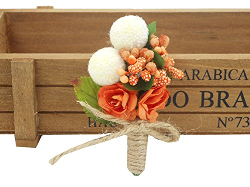 Cute Orange Flower Boutonniere Brooch for Clothes Women Groom Fall Wedding Men Tuxedo Suit Decoration Birthday (Fall Brooch Pin)