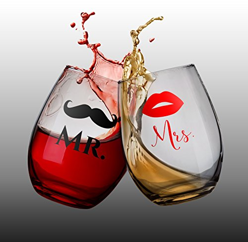 (Mustache and Lips Mr and Mrs Wine Glass Set, Stemless Wine Glasses, Unique Gift, Wedding Gift, Engagement Gift, Anniversary Gift, Bridal Shower Gift)