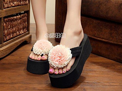 Aa-nvliangxie Frauen Sandalette Heels High Heels Sandalette Dicke unten Flip Flops weiblichen Xia Po und Muffin Strand Sandales EU 35 CN 36 Qsd - 25285c