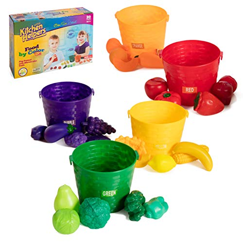 IQ Toys 30 Piece Play Food Color Sorting Set with 5 Color Coded Buckets. Complete Pretend Play and Learning Set for Toddler Kids Girls and Boys