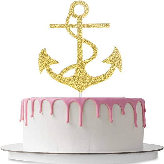 Stupendous Amazon Com Nautical Themed Cake Topper Anchor Shaped Wedding Personalised Birthday Cards Sponlily Jamesorg