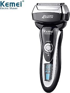 Kemei afeitadora eléctrica de carga rápida todo el cuerpo lavable cuchilla de afeitar eléctrica de cuatro hojas afeitar para hombres pantalla lcd: Amazon.es: Salud y cuidado personal