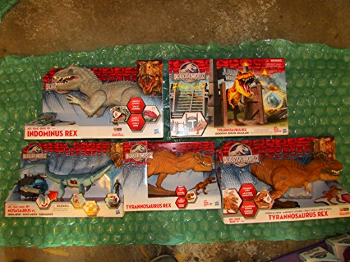 5 JURASSIC WORLD Major Dinosaurs includes Stomp, Strike T-Rex, Mosasaurus, Playset