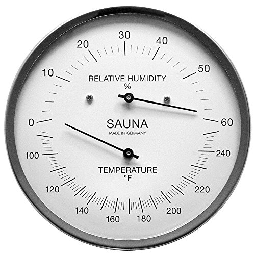 Fischer Sauna Thermometer (Fahrenheit) & Hygrometer 5.1 Inches, 194-01F - Made in Germany