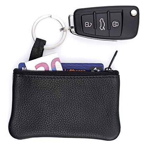 Echt Leder Schlüsseltasche 1 Fach 2 Schlüsselringe Damen Geldbörse Portemonnaie