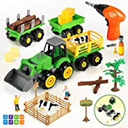 CUTE STONE Take Apart Toys Farm Truck Tractor with Electric Drill, Play Farm Toys Set with Farm Animal Action