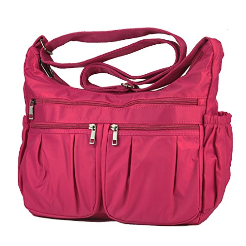 Waterproof Multi Volcanic for Nylon Purse Shoulder Women body Handbags Bag Rock Corss Pocket 8981 Travel large hotpink qTx57w8rT