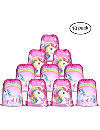 Unicorn Bags for Unicorn Party Supplies (10Pack),Konsait Unicorn Drawstring Shoulder Backpack Bag Bulk for Girls Kids Children for Birthday Candy Baby Shower Unicorn Party Favors Gift