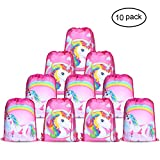 Konsait Unicorn Bags for Unicorn Party Supplies Drawstring Shoulder Backpack Bag Bulk