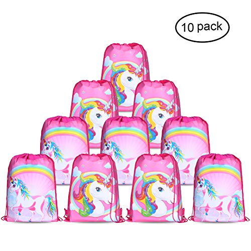 Konsait Unicorn Bags for Unicorn Party Supplies (10Pack), Unicorn Drawstring Shoulder Backpack Bag Bulk for Girls Kids Children for Birthday Candy Baby Shower Unicorn Party Favors Gift -